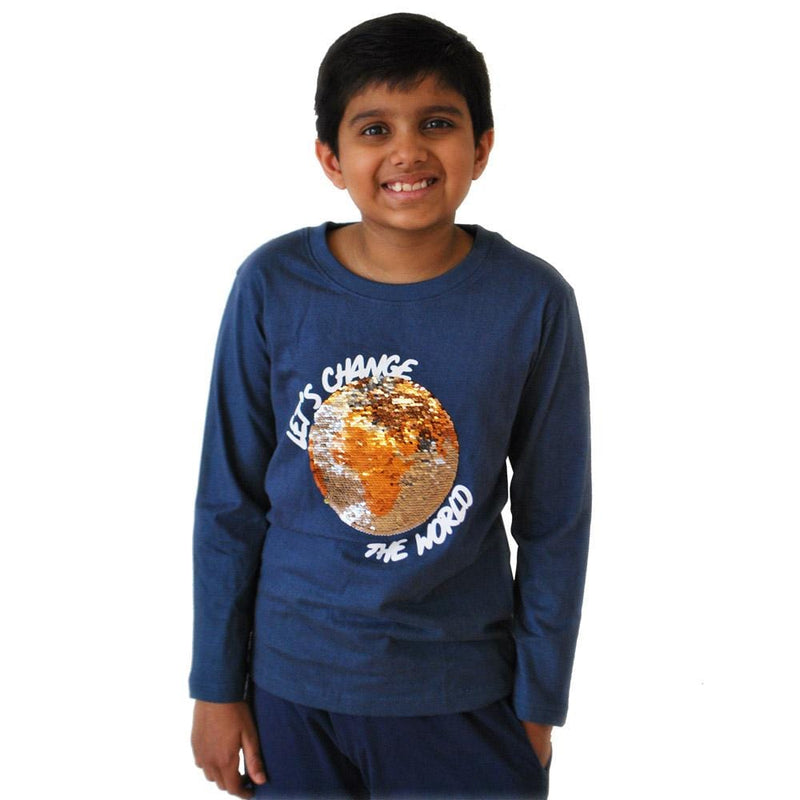 'Let's Change the World' Reversible Sequin Kids T-Shirt