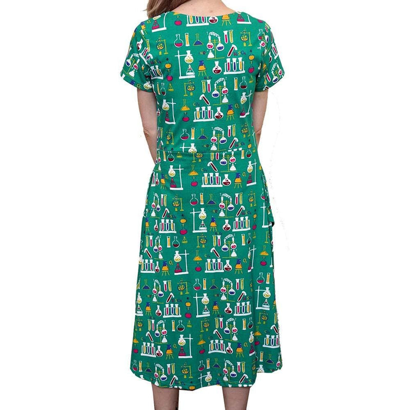 Chemistry Lab Dress, Science Dress, STEM Dress, Laboratory Dress, Science Chemistry Equipment Dress, Chemical Dress, STEM Dress, Science Dress, Women's Dress with Pockets - BACK -Svaha USA