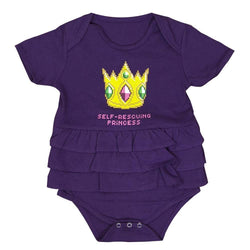 8-Bit Self-Rescuing Princess Ruffled Baby Bodysuit - Svaha USA