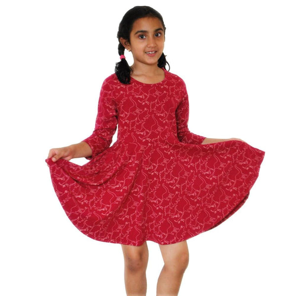Jurassic Print Kids Twirl Dress