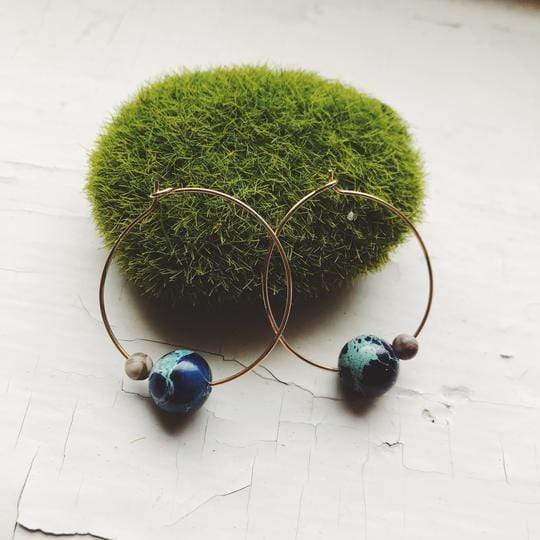 Earth and Moon Jasper Bead Hoop Earrings