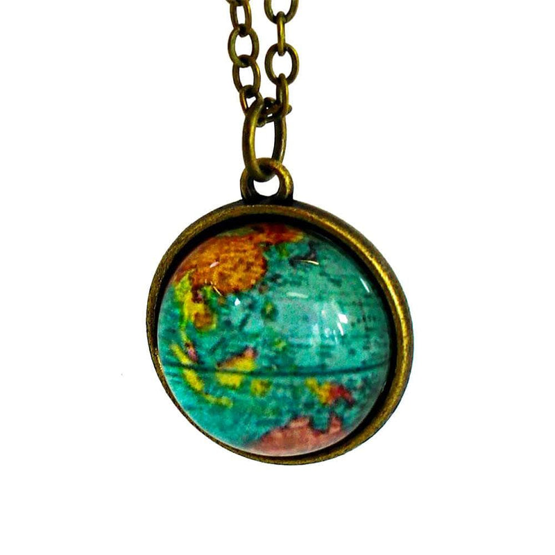 Earth Globe Glass Dome Necklace
