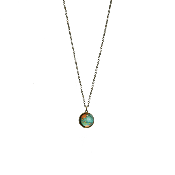 Earth Globe Glass Dome Necklace [FINAL SALE]