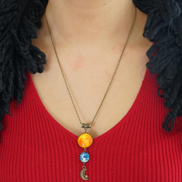 Sun, Earth, & Moon Necklace