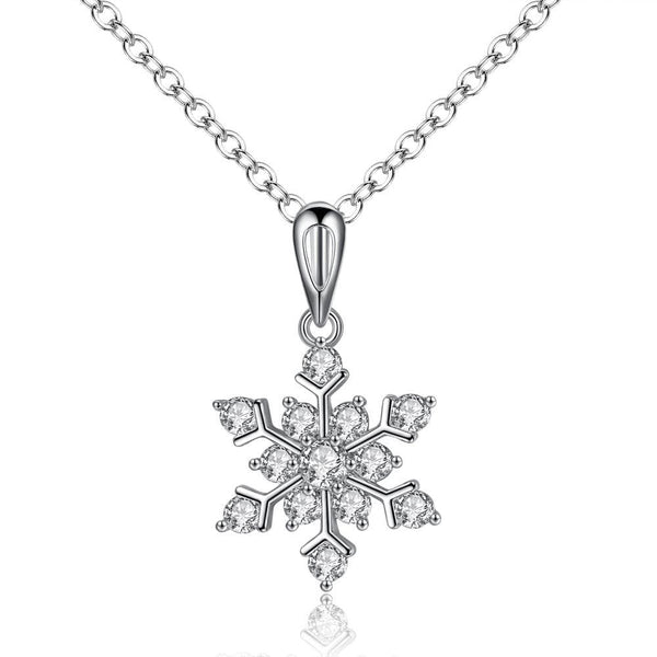 Crystal Snowflake Sterling Silver Necklace [FINAL SALE]