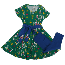 Chemistry Lab Kids Twirl Dress & Leggings Set