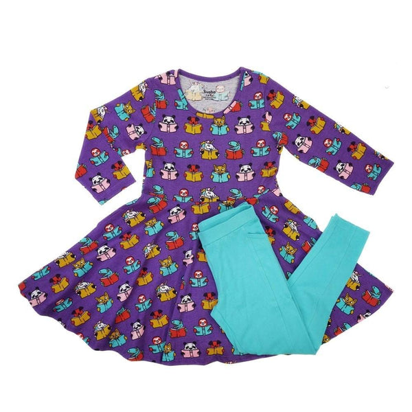 Teacher's Pet Kids Twirl Dress & Leggings Set