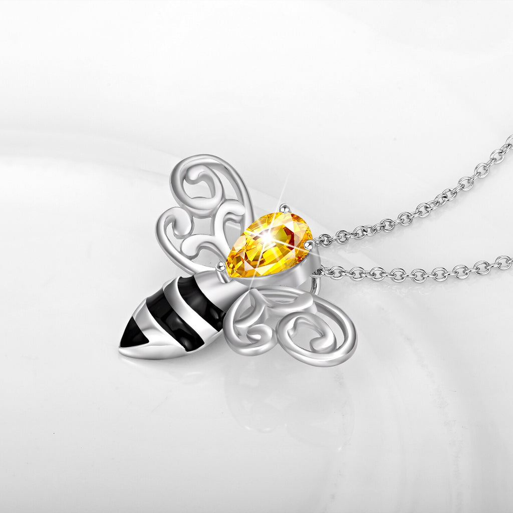 Honeybee Rhinestone Sterling Silver Necklace - Svaha USA