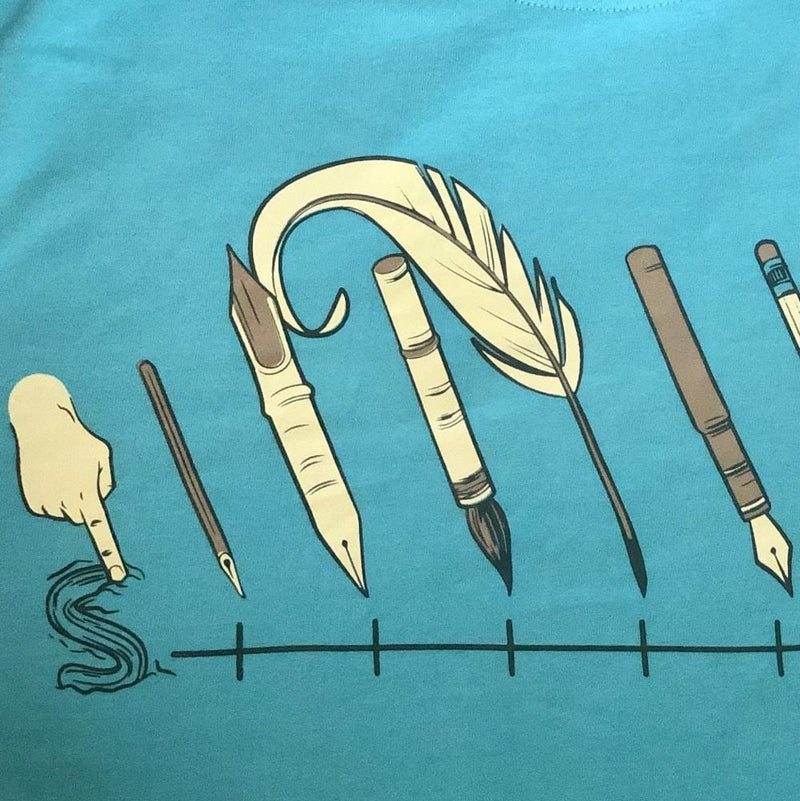 Evolution of Writing Instruments Adults Fitted T-Shirt [FINAL SALE]