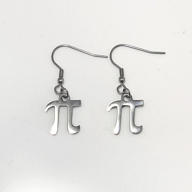 Pi Symbol Silver Dangle Earrings