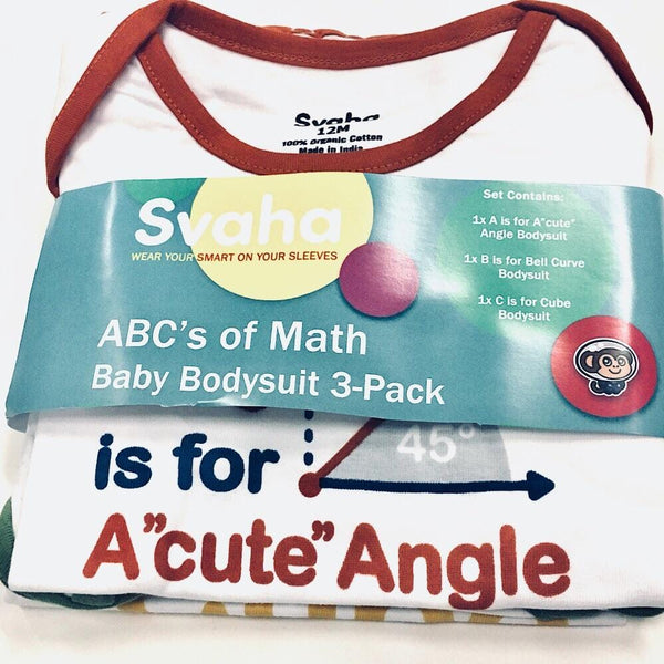 ABC's of Mathematics Baby Bodysuit Bundle - Organic Cotton 3-Pack [PLAIN] - Svaha USA