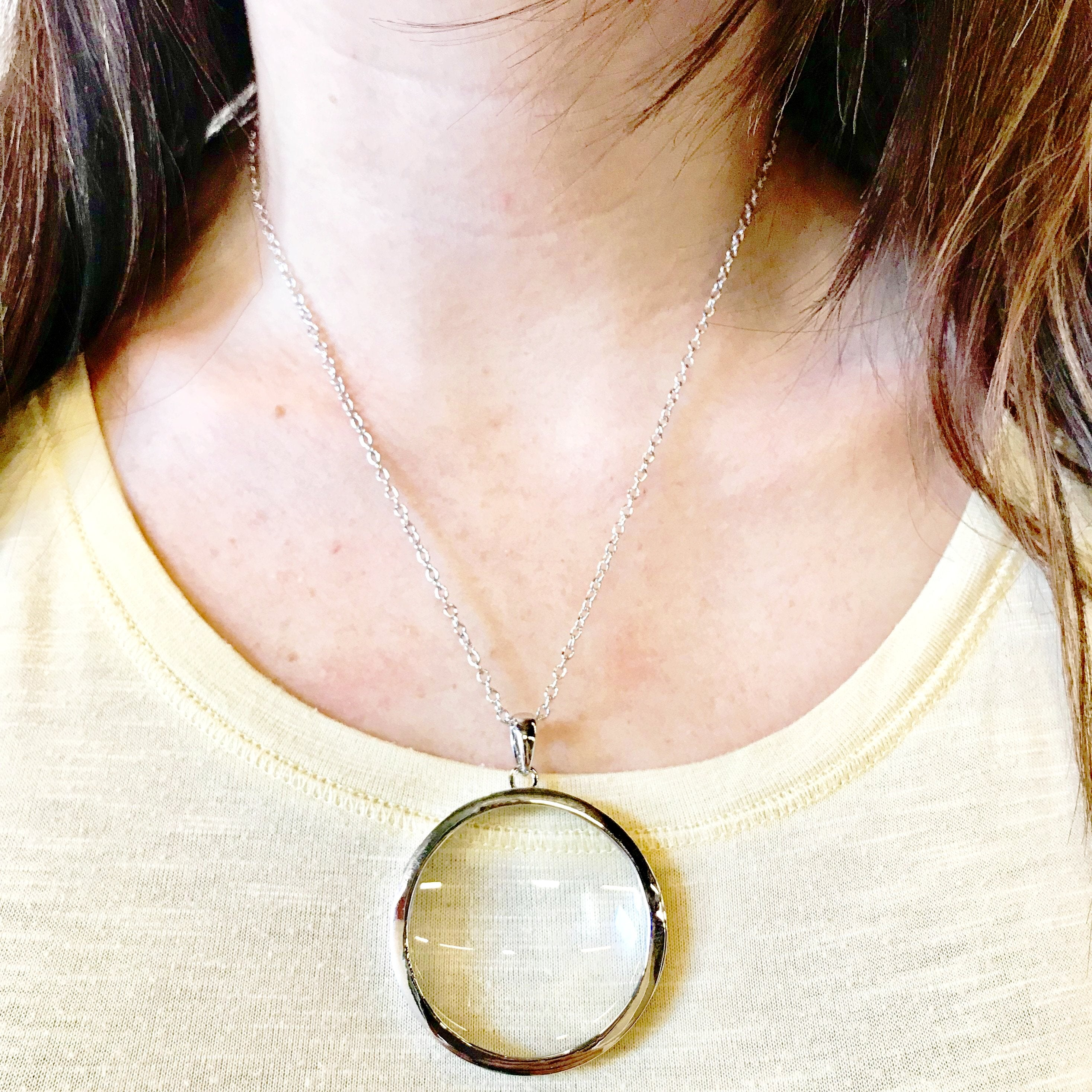 Magnifying glass necklace svaha apparel mozeypictures Image collections