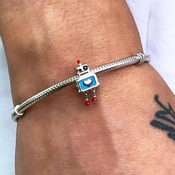 Robot Friend Sterling Silver Charm - Svaha Apparel