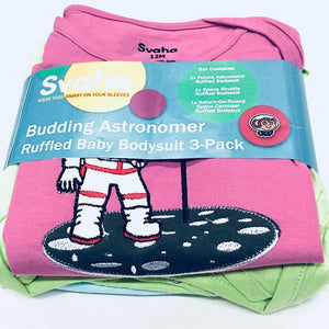 Budding Astronomer Ruffled Baby Bodysuit Bundle - Organic Cotton 3-Pack - Svaha USA