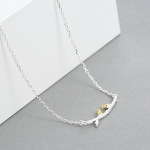 Dainty Silver Lovebirds Necklace