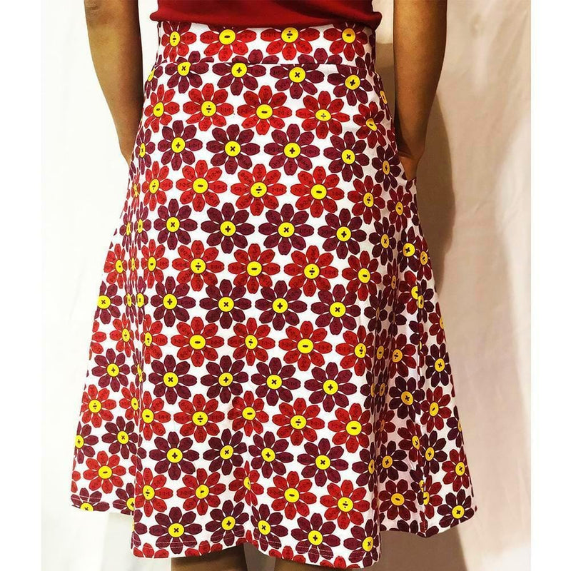 Flower Petals Skirt, Flower Skirt, Equations Skirt, Math Skirt, Mathematics Skirt, STEM Skirt, Mathematician Skirt, Arithmetic Skirt, Botany Skirt, Summer Skirt with Pockets - BACK - SVAHA USA