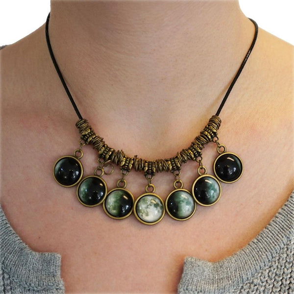 Moon Phases Statement Necklace