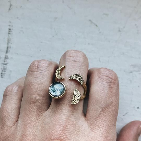 Moon Phases Sculpture Ring