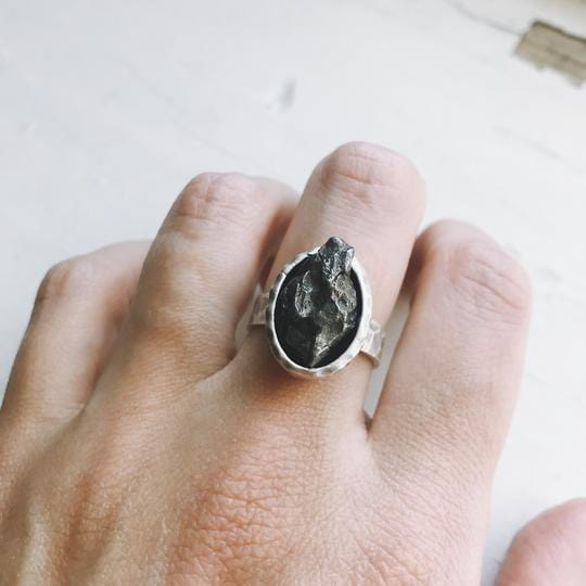 Oval Raw Meteorite Ring