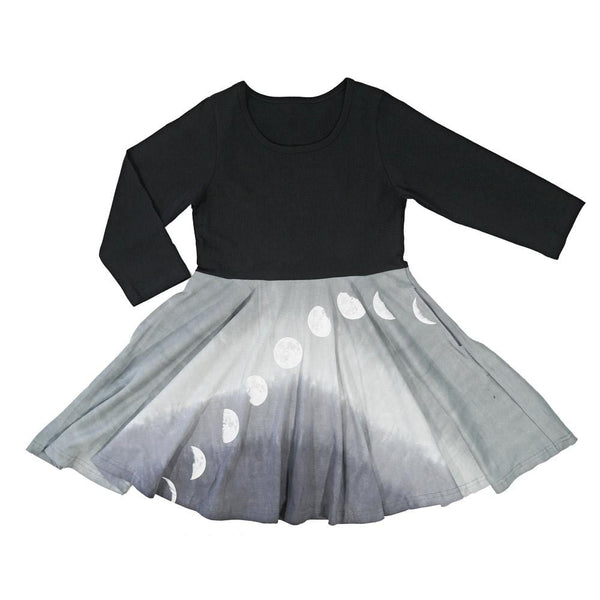 Moon Phases Glow-in-the-Dark Ombré Kids Twirl Dress