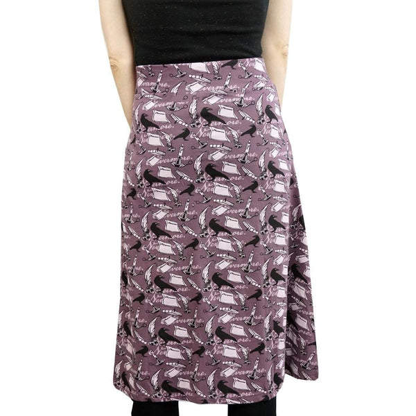 Literature Skirt, Language Arts Skirt, Poerty Skirt, Writing Skirt, Edgar Allen Poe Skirt, Humanities Skirt, Library Skirt, Librarian Skirt, English Writer Skirt with Pockets BACK - SVAHA USA