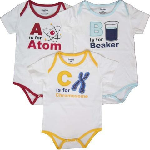 Science Onsie, STEM Baby Clothes, White Onsie, Geeky Baby Clothing, Science Onsie Bundle Pack - SVAHA USA
