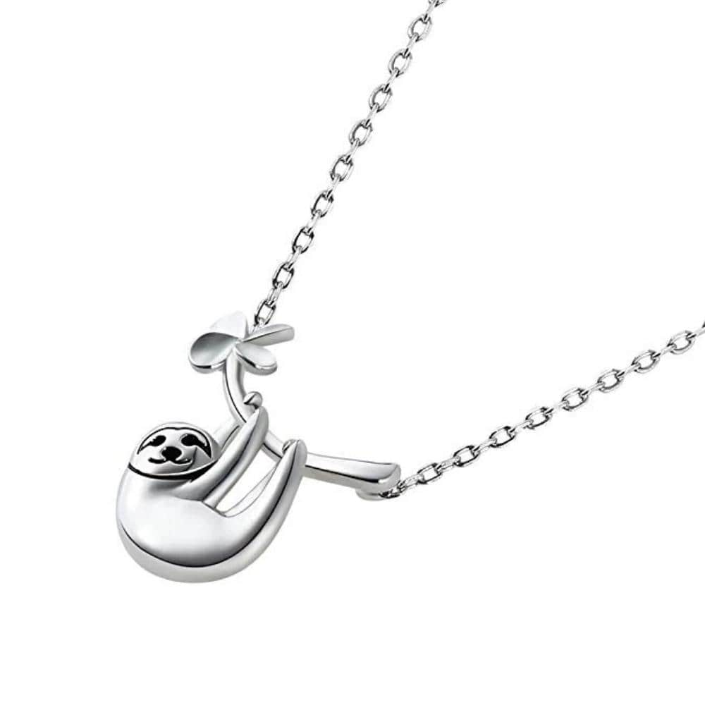 Silver Necklace, Silver Sloth Necklace, Sloth Necklace, Silver Jewelry, Silver Sloth Sloth Jewelry, Animal Necklace, Silver Animal Necklace, Animal Jewelry, Geeky Jewelry, Silver Geeky Jewelry - SVAHA USA