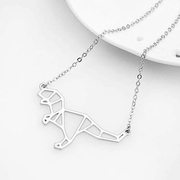 Geometric Dinosaur Silver Necklace