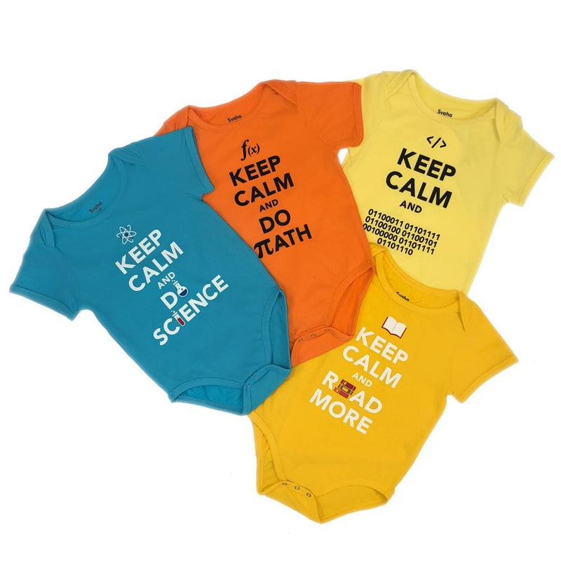 'Keep Calm and Learn' Baby Bodysuit Bundle - Organic Cotton 4-Pack ($60 Value)