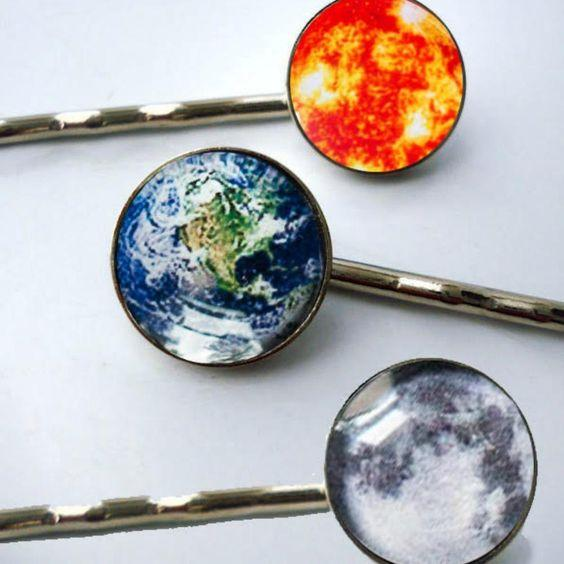 Sun, Earth & Moon Hair Pins [FINAL SALE]