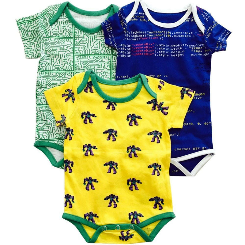 Short Circuits Baby Bodysuit Bundle - Organic Cotton 3-Pack [PLAIN]
