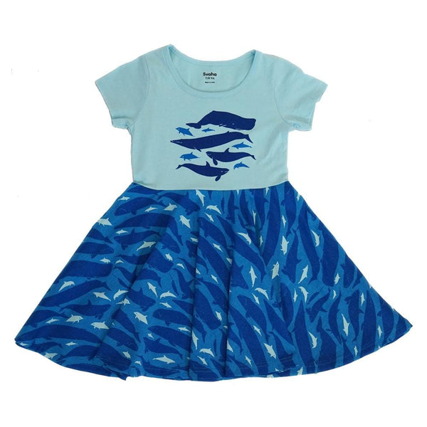 Dolphins and Whales Kids Twirl Dress