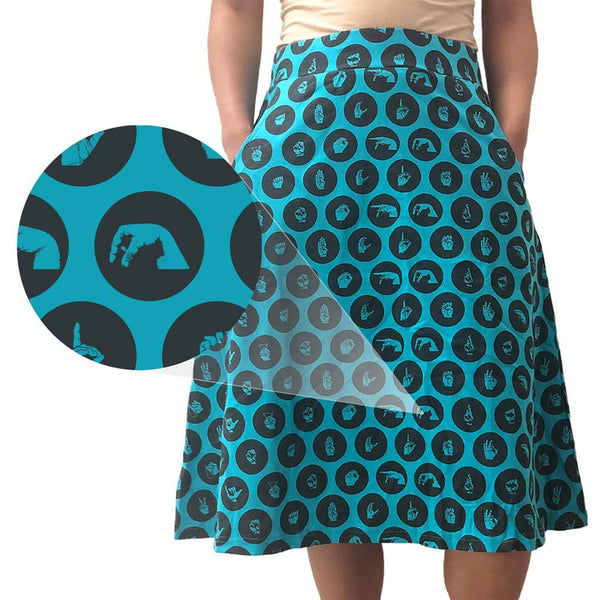 Sign Language Polka Dots A-Line Skirt