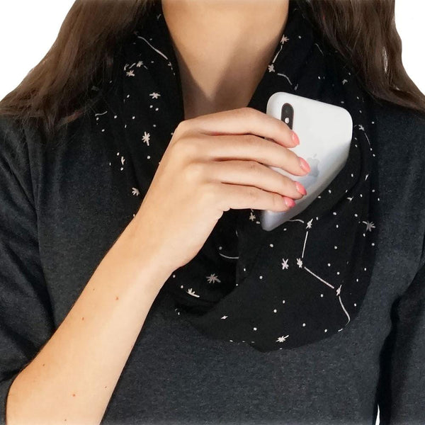 Constellations Glow-in-the-Dark Infinity Pocket Scarf
