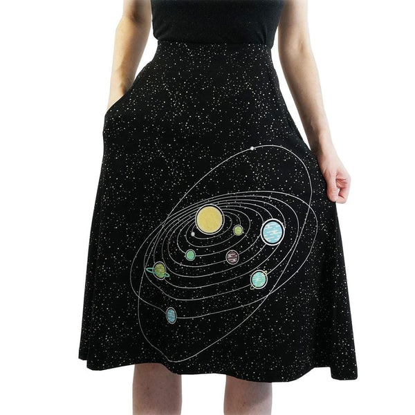 Retro Solar System Glow-in-the-Dark A-Line Skirt
