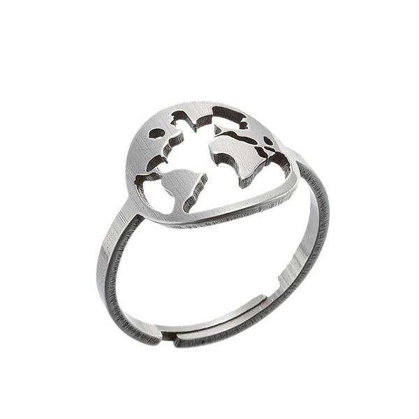 World Map Stainless Steel Ring