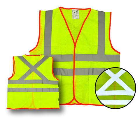 "High Visibility Fluorescent Safety Vest- Class 2 - with 2 pockets - Yellow w/ orange trim, 2 pockets, ""X"" - Safety - Equine Comfort Products"