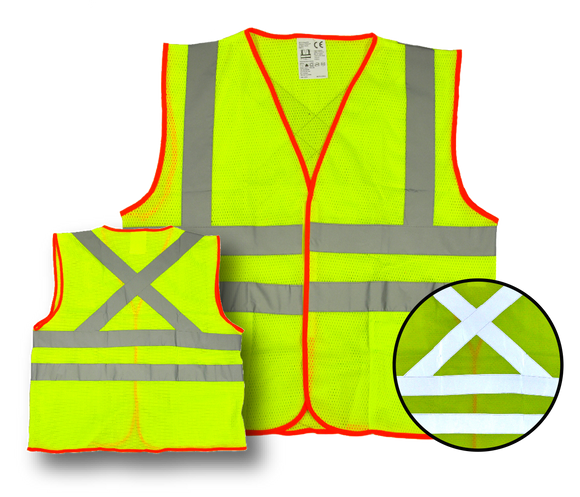 High Visibility Fluorescent Safety Vest- Class 2 - with 2 pockets - Yellow w/ orange trim, 2 pockets,