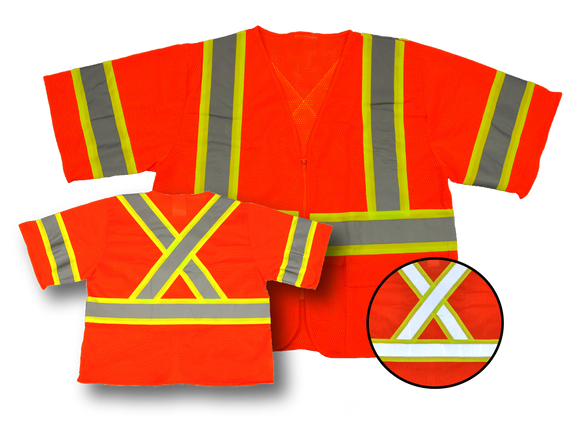 Premium High Visibility Fluorescent Safety Vest - Class 3 - with pockets - Orange, Zippered front, 2 Pockets,