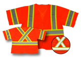 "Premium High Visibility Fluorescent Safety Vest - Class 3 - with pockets - Orange, Zippered front, 2 Pockets, ""X"" back design - Safety - Equine Comfort Products"