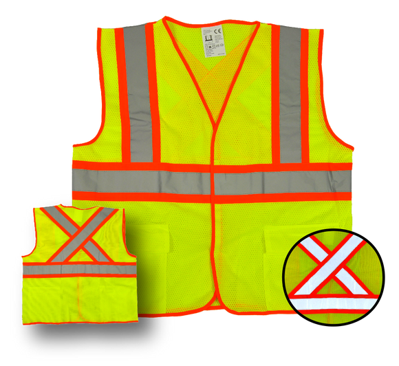 Deluxe High Visibility Fluorescent Safety Vest - Class 2 - Yellow, Velcro closure, 2 pockets,