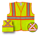 "Deluxe High Visibility Fluorescent Safety Vest - Class 2 - Yellow, Velcro closure, 2 pockets, ""X"" on back - Safety - Equine Comfort Products"