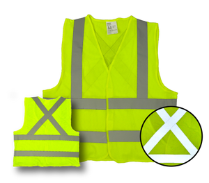 "High Visibility Flourescent Safety Vest - Class 2 - Mesh - 3 Pack - Yellow, ""X"" design on back - Safety - Equine Comfort Products"
