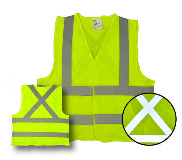 High Visibility Flourescent Safety Vest - Class 2 - Mesh - 3 Pack - Yellow,