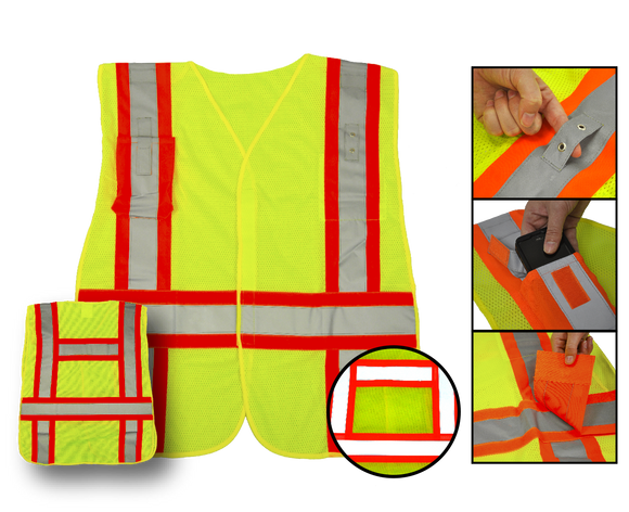 Deluxe High Visibility Fluorescent Safety Vest - Class 2 - 5-Point Break Away Design - Yellow, 2 pockets - Safety - Equine Comfort Products