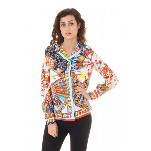 Dolce & Gabbana Carretto Siciliano ladies shirt long sleeve F5F01T FP122 X0800 - Haute Milan
