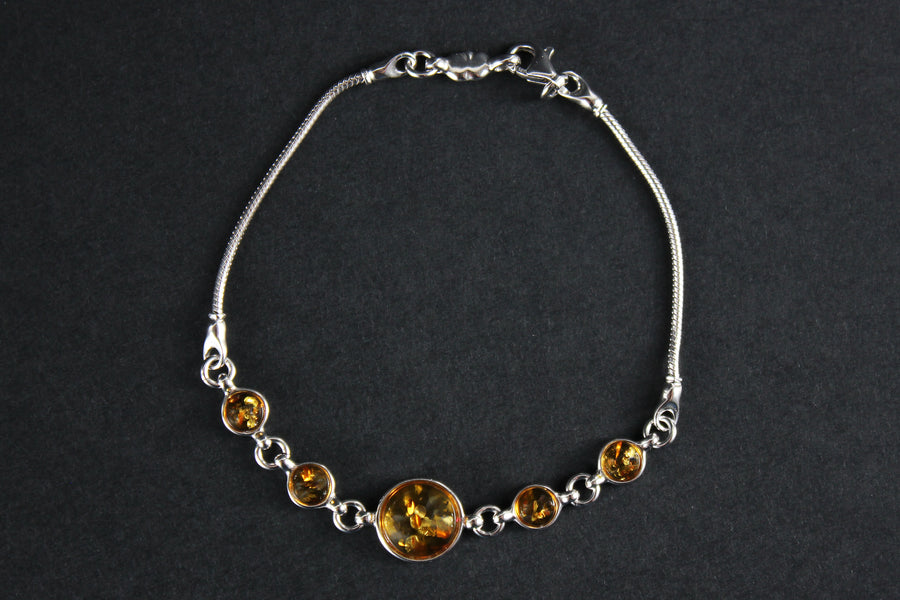 Sterling silver bracelet with honey Baltic amber stones