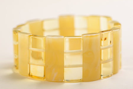 "Baltic Amber rectangle bead bracelet ""Radiant"""