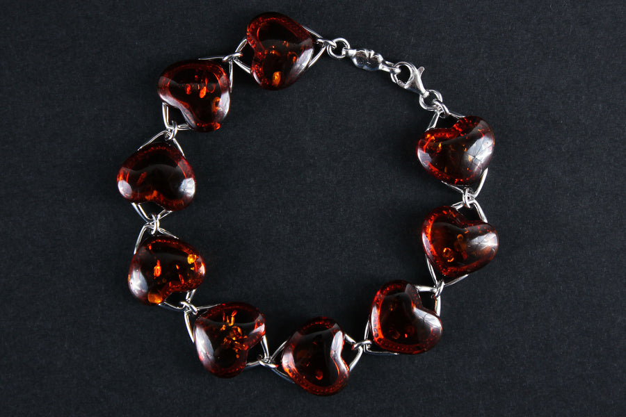 "Sterling silver bracelet with cognac Baltic amber stones ""Hearts"""