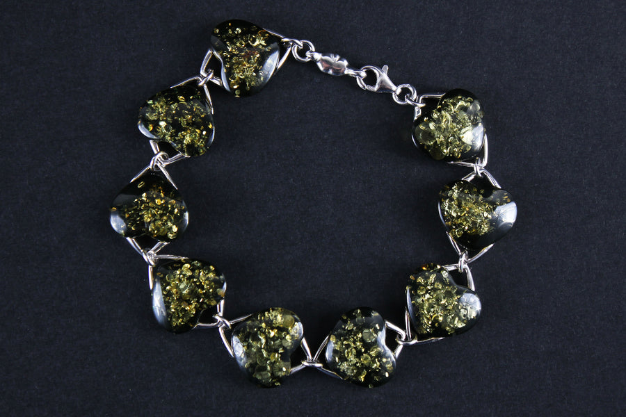 "Sterling silver bracelet with green Baltic amber stones ""Hearts"""